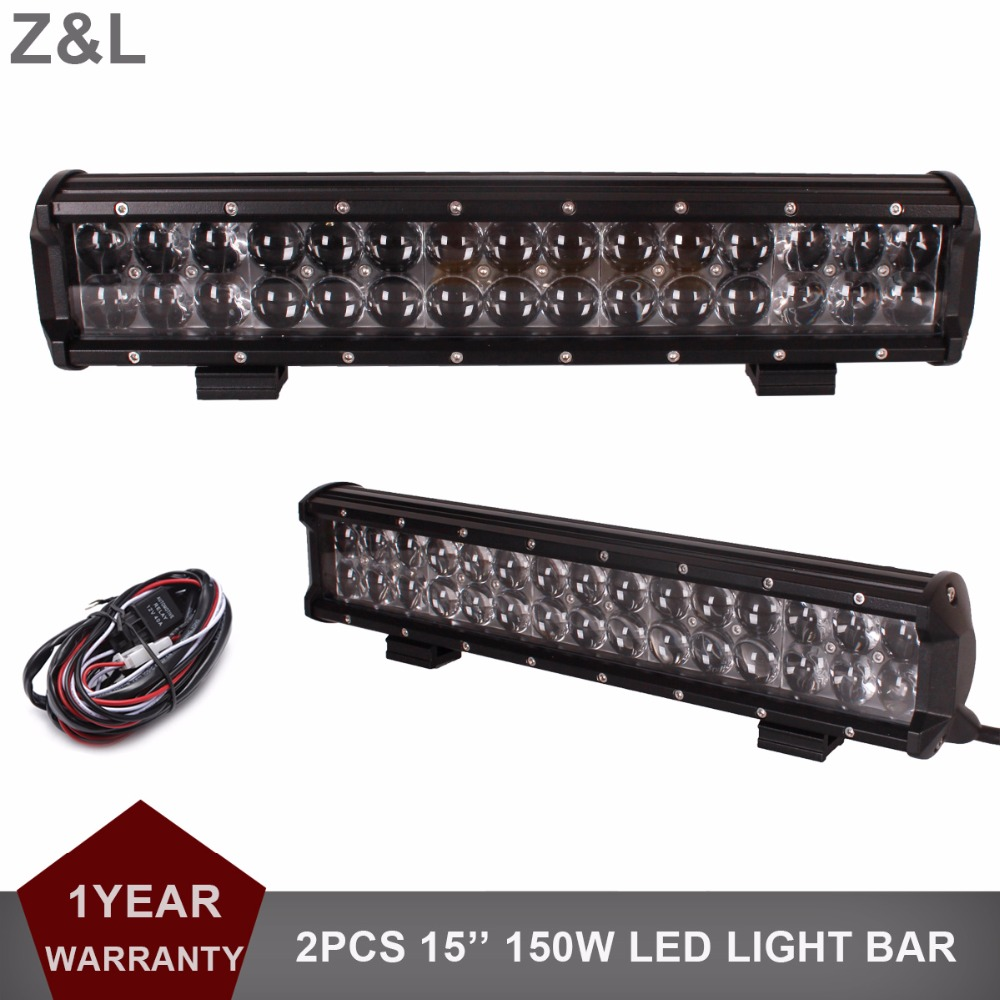 2x 150W 15 Inch LED Work Light Bar Driving Combo Off Road Auto SUV ATV Pickup Trailer Truck 4x4 AWD 4WD Wagon Car 12V 24V Lamp 100w 8000lm combo 10 led white work light bar off road lamp suv atv lamp driving lamp