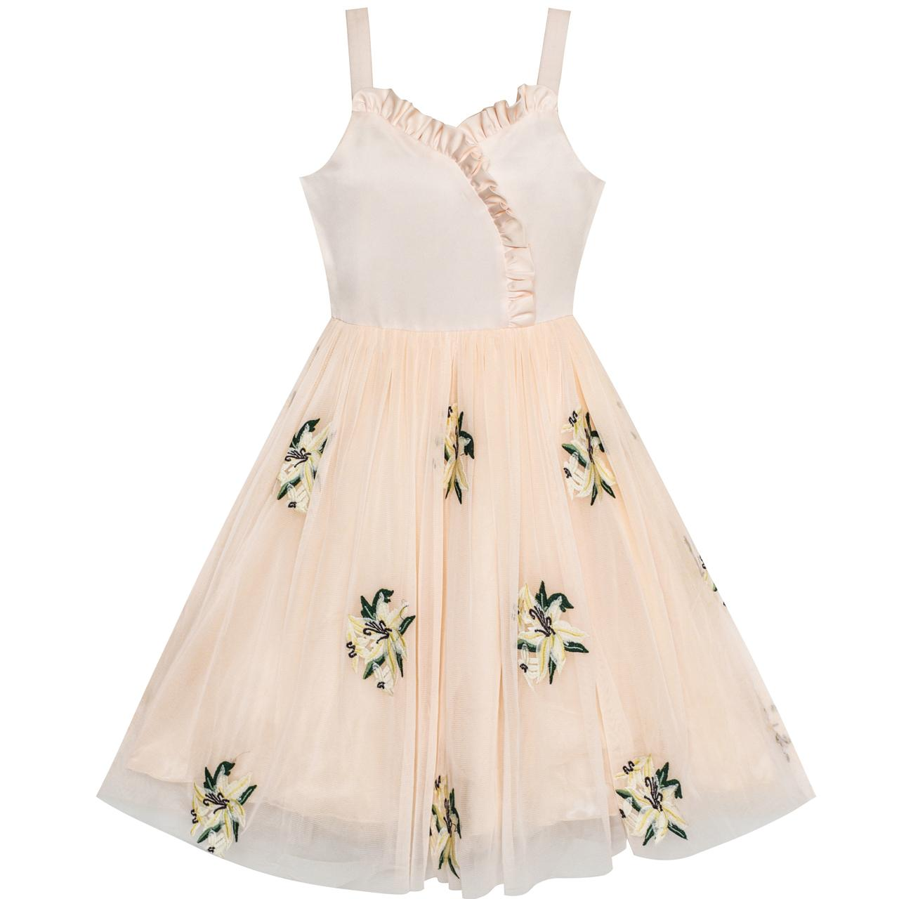 Sunny Fashion Flower Girl Dress Lily Flower Embroidered Wedding Party 2018 Summer Princess Dresses Girl Clothes Size 6-12 миска lily flower g2286 h4266