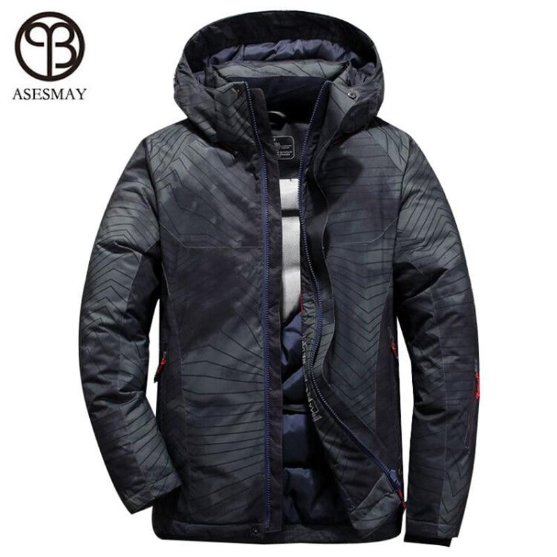 Asesmay Nouvelle Arrivée hommes vers le bas veste hommes de manteaux d'hiver casual épais plume d'oie parkas wellensteyn hoodies mâle vers le bas vestes
