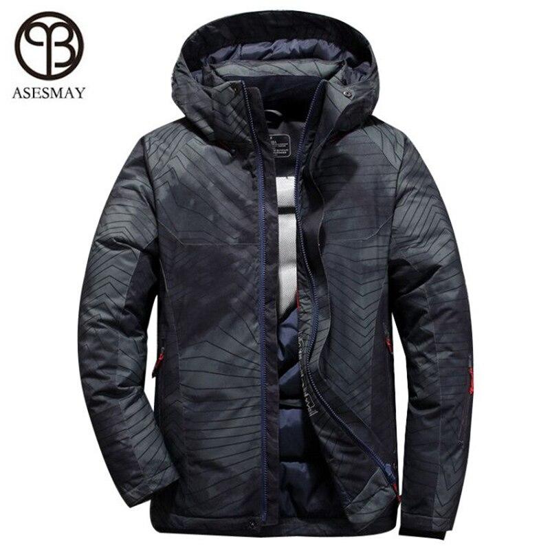 Asesmay Nuovi uomini di Arrivo di down jacket cappotti di inverno degli uomini di spessore casuale piuma d'oca parka wellensteyn con cappuccio maschio giù giacche