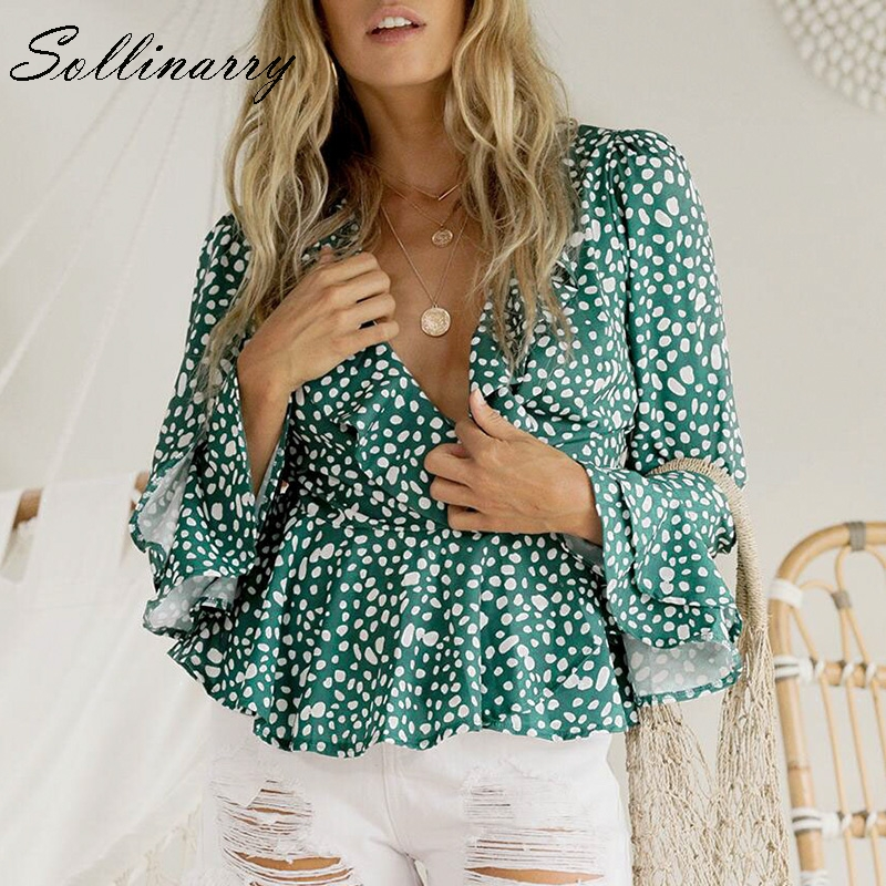 Sollinarry Polk Dot Women Blouse Office Lady Winter Blouse Tops And Shirt Vintage Sexy V Neck Blouses Women Casual Party Ruffles