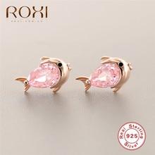 925 Sterling Silver Fish Shape Stud Earrings for Women Pink Crystal Goldfish Earring Prevent Allergy Pendientes Korean