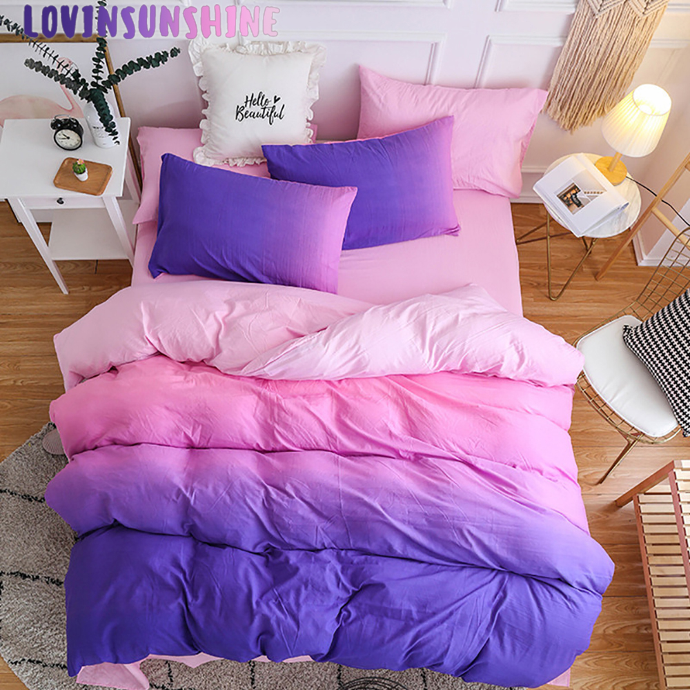 LOVINSUNSHINE Duvet Cover Queen Bed Comforter King Size Purple Pink Solid Simple Home Textiles Bedding Set AB#85