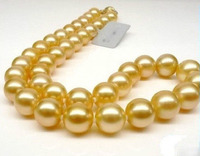Hot selling free shipping*******Real Huge 18 Round 11 12mm AAA south sea golden natural pearl Necklace