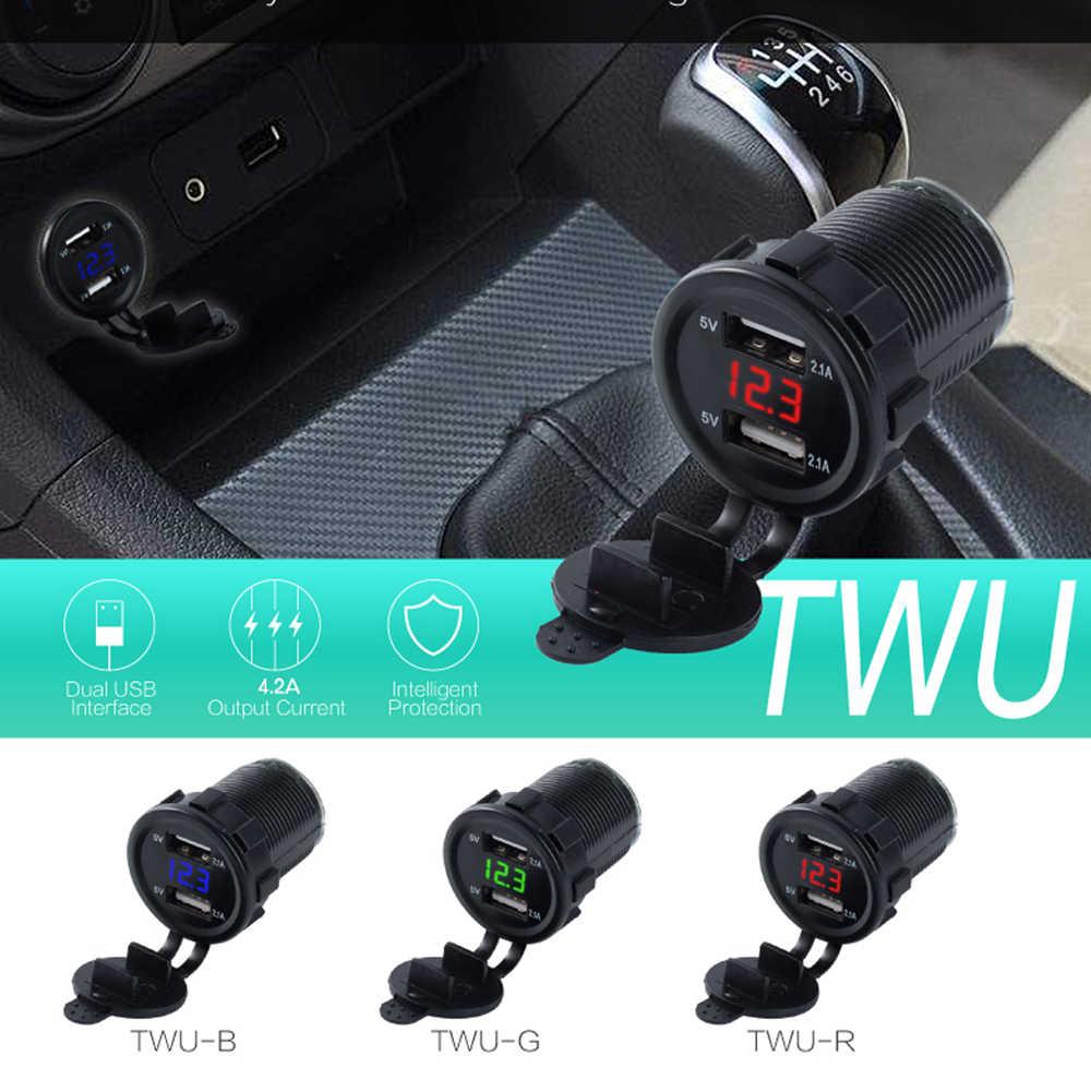 Cylindryczny styl podwójna ładowarka samochodowa USB wielofunkcyjny wyświetlacz LED 5V 4.2A remont podwójna ładowarka samochodowa do telefonu USB z woltomierz cyfrowy
