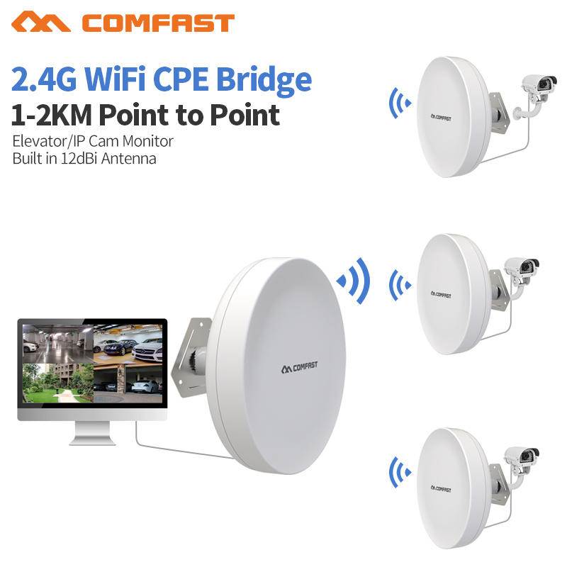 2pcs Outdoor Wifi Repeater Wireless wi-fi Range Extender Amplifier 2.4G Waterproof 27dBm Wi fi Router/AP WISP Bridge Antenna tp link wifi router wdr6500 gigabit wi fi repeater 1300mbs 11ac dual band wireless 2 4ghz 5ghz 802 11ac