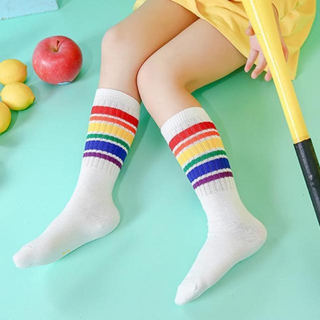 bedc9580e Free Shipping Baby Girls Leg Warmer Rainbow Cotton Cute Stripes Knee Socks  Kids Lovely Clothing Unisex Toddler Soft Boot Socks