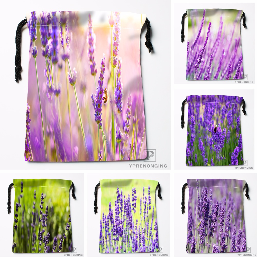 Custom Lavender Plant Nature Blur Drawstring Bags Travel Storage Mini Pouch Swim Hiking Toy Bag Size 18x22cm#0412-04-05