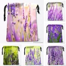 Custom Lavender Plant Nature Blur Drawstring Bags Travel Storage Mini Pouch Swim Hiking Toy Bag Size 18x22cm#0412-04-05