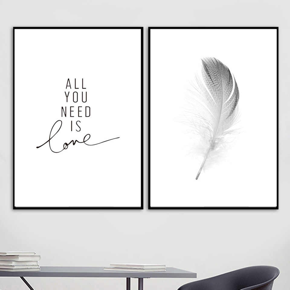 Canvas Printed Home Decoration Feather Love Quotes Nordic Posters Black White Painting Wall Art Pictures Living Room Modular