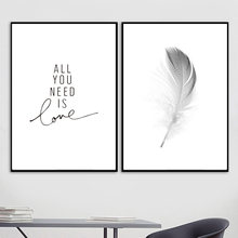 Canvas Printed Home Decoration Feather Love Quotes Nordic Posters Black White Painting Wall Art Pictures Living Room Modular(China)