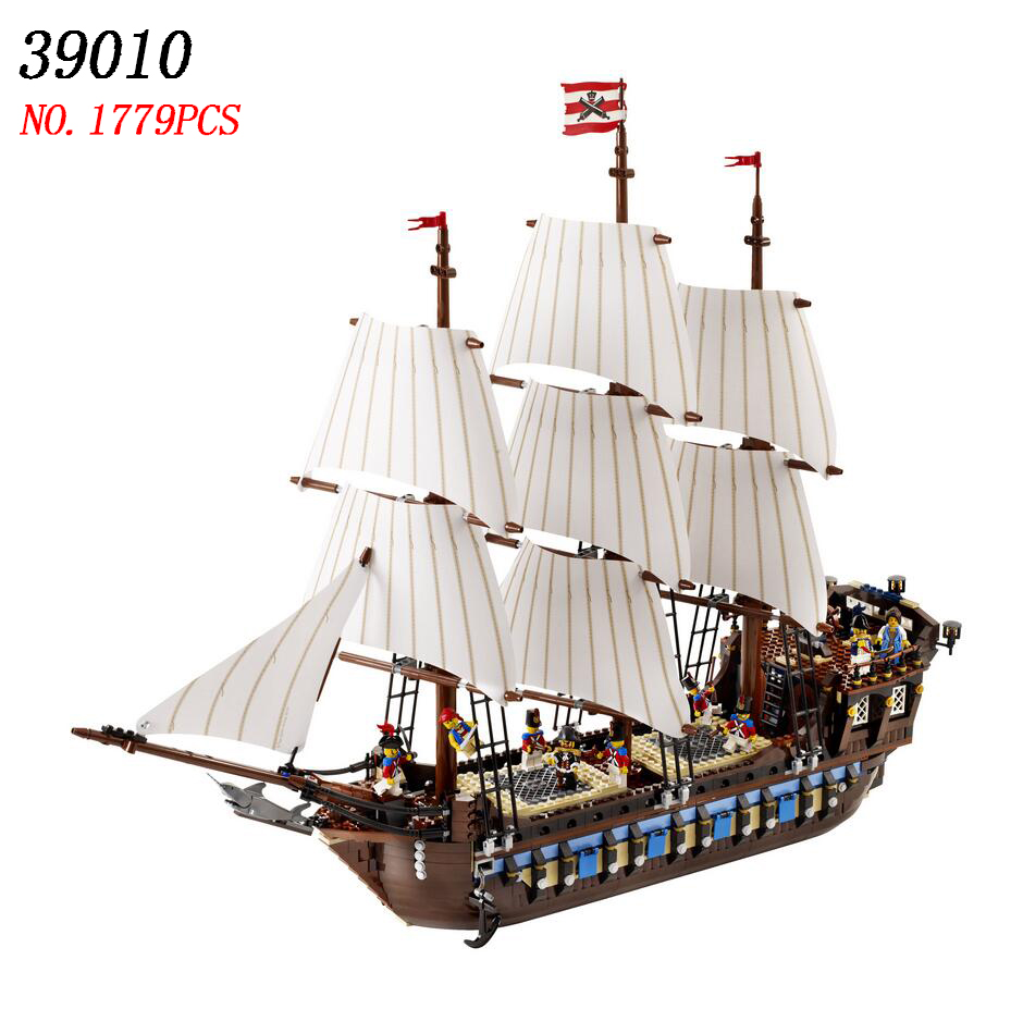 LELE 39010 Pirate Ship warships Model Building Kits Block Briks Toys For Children Gift 1779pc Compatible 10210 DHL shipment