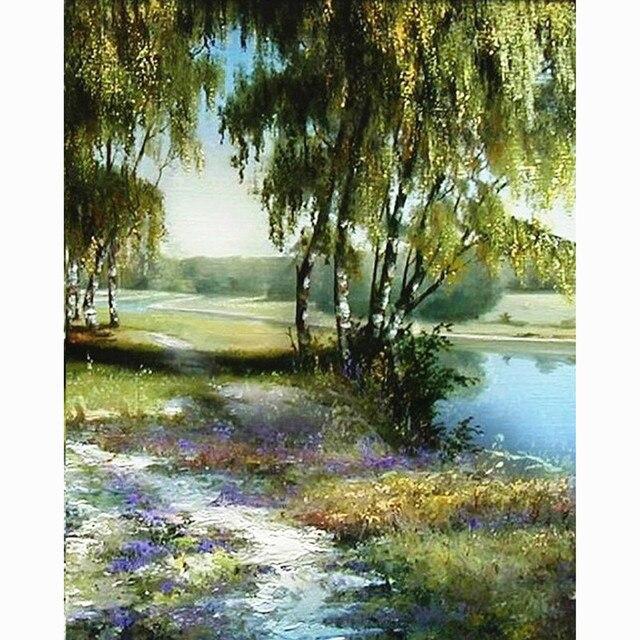 Coloriage Jardin Arbres.Accueil Beaute Peinture Calligraphie Paysage Riviere Arbres Huile
