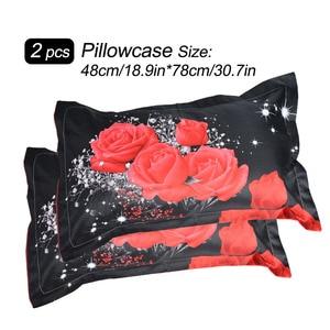 Image 5 - New Beautiful 3D Flower Rose Feast Pattern Bedding Set Bed sheets Duvet Cover Bed sheet Pillowcase 4pcs/set hot sale