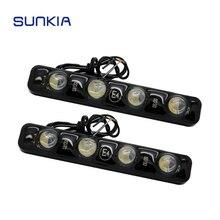 SUNKIA светодиодный Универсальный Мощный Автомобильный 4 Светодиодный дневной ходовой светильник DRL Предупреждение ющий декоративный светильник высокой мощности водонепроницаемый