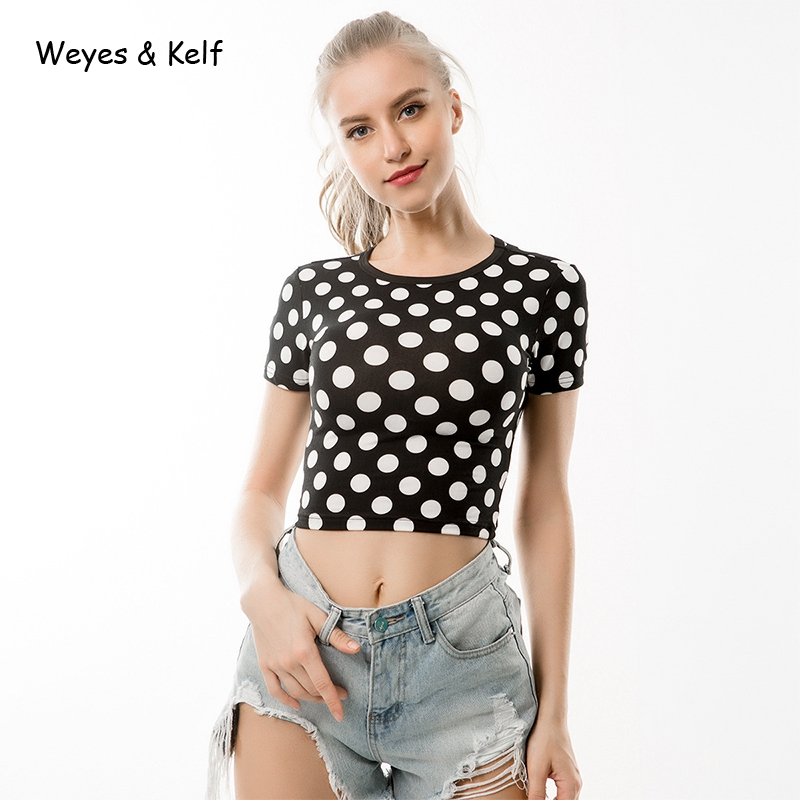 9cdaef84 Weyes & Kelf High Street Sexy Print O neck Sexy Crop Top Harajuku 2018  Summer Plaid Slim Short sleeved T shirt Women Casual Tee-in T-Shirts from  Women's ...