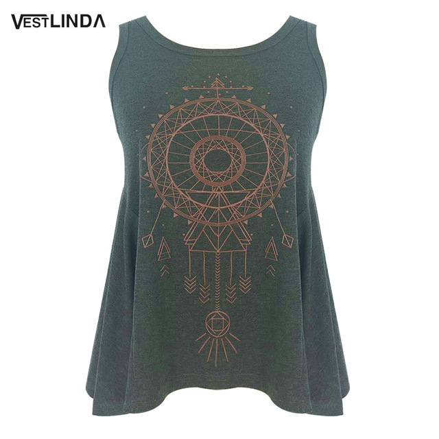 Casual Stylish Women Tops Vest Fashion Round Summer Neck Sleeveless Asymmetrical Print Streetwear Girls Deep Grey Tank Tops