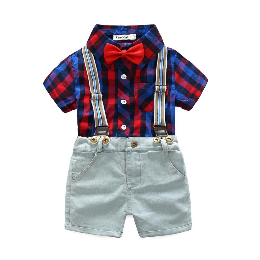 Bébé garçon vêtements 2019 été nouveau mode décontracté revers rayé T-Shirt haut + Shorts 2 pièces Bebes Jogging costume de sport infantile ensemble