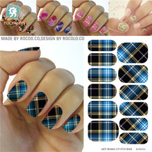 Classic Blue Black Tartan Water Transfer Design Nails Stickers Manicure Styling Tools Water Film Paper Decals