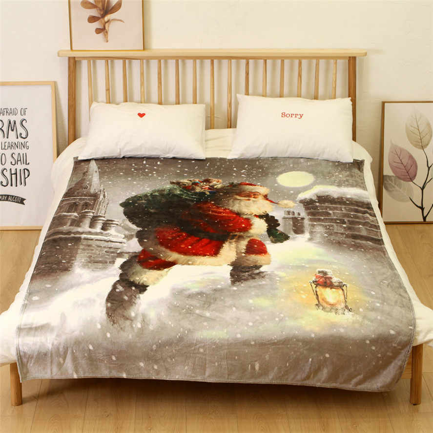 New Warm Christmas Blankets 150X200CM 1PC Merry Christmas Blanket Flannel Fabric Sofa Bed Blanket Home Decor Blankets 30