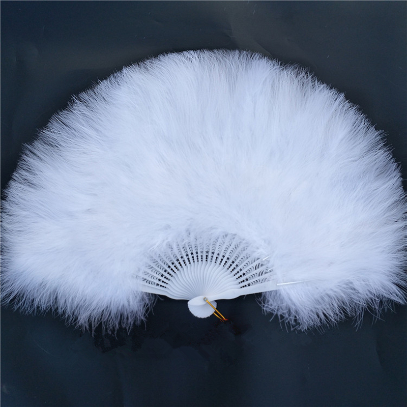 Factory Direct Sales White Ladies Holding Folded Turkey Feather Fan Wholesale Handmade For Belly Dance Wedding Decoration 42