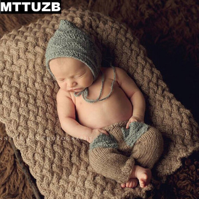 MTTUZB Lovely Handmade Baby Girls Boys Crochet Costume Newborn Knitted Beanie Hat Pants Photo Props Infant otography Props Suit newborn baby photography props infant knit crochet costume peacock photo prop costume headband hat clothes set baby shower gift