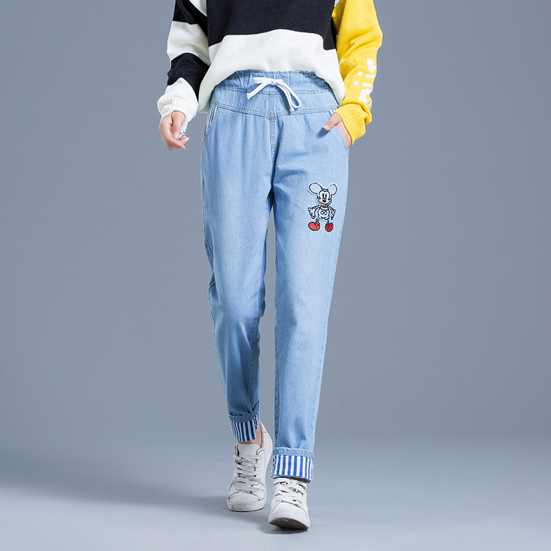 Autumn College Wind Elastic High Waist Jeans Women 2018 New Harajuku Cotton Loose Cartoon Mickey Mouse Embroidered Jeans #9903