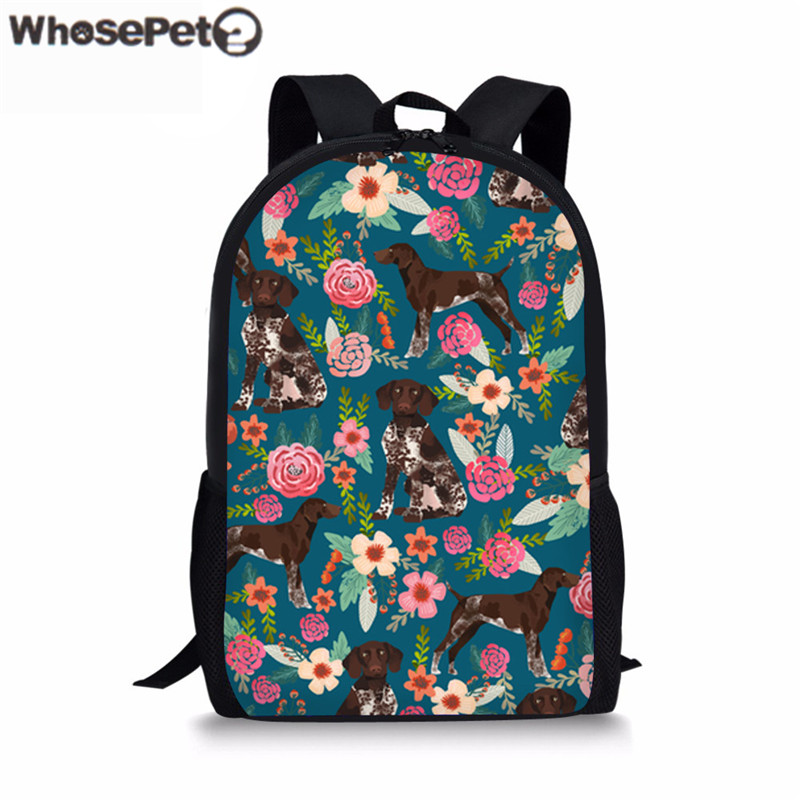 WHOSEPET Schoolbag For Women Men Germen Shepherd Flowers Brand Childrens School Bag Pack ...