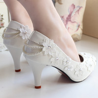 Shoes Women Pumps bride Wedding Shoes Lace Rhinestone handmade Lace Flower Formal High Heels 8cm large Size 41 42 Round Toe
