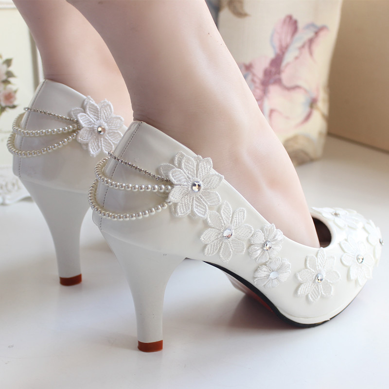 The bride wedding shoes lace rhinestone handmade lace flower formal dress high heels font b women