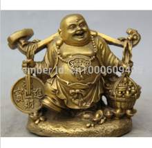 "SCY wang67110212 + + + 5 ""En Laiton Chinois Heureux Rire Bouddha Maitreya Richesse Riche Coin Statue Sculpture(China)"
