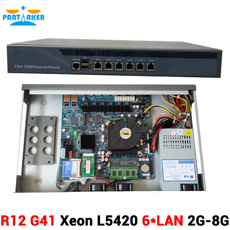 Intel Quad Core Xeon L5420 Firewall Security Appliance Ros Router with 6 Intel 82583V Gigabit Ethernet