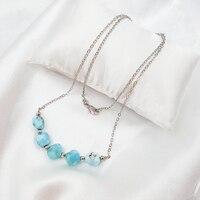 LiiJi Unique Natural Stone Blue Larimar Copper Chain Fashion Necklace For Men Or Women 16 20