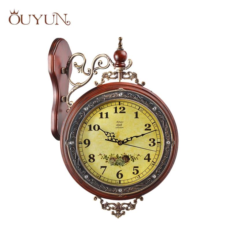 OUYUN luxe solide horloge murale Vintage Double Face horloge murale silencieux Flip horloge murale bois horloge salon décoration de la maison