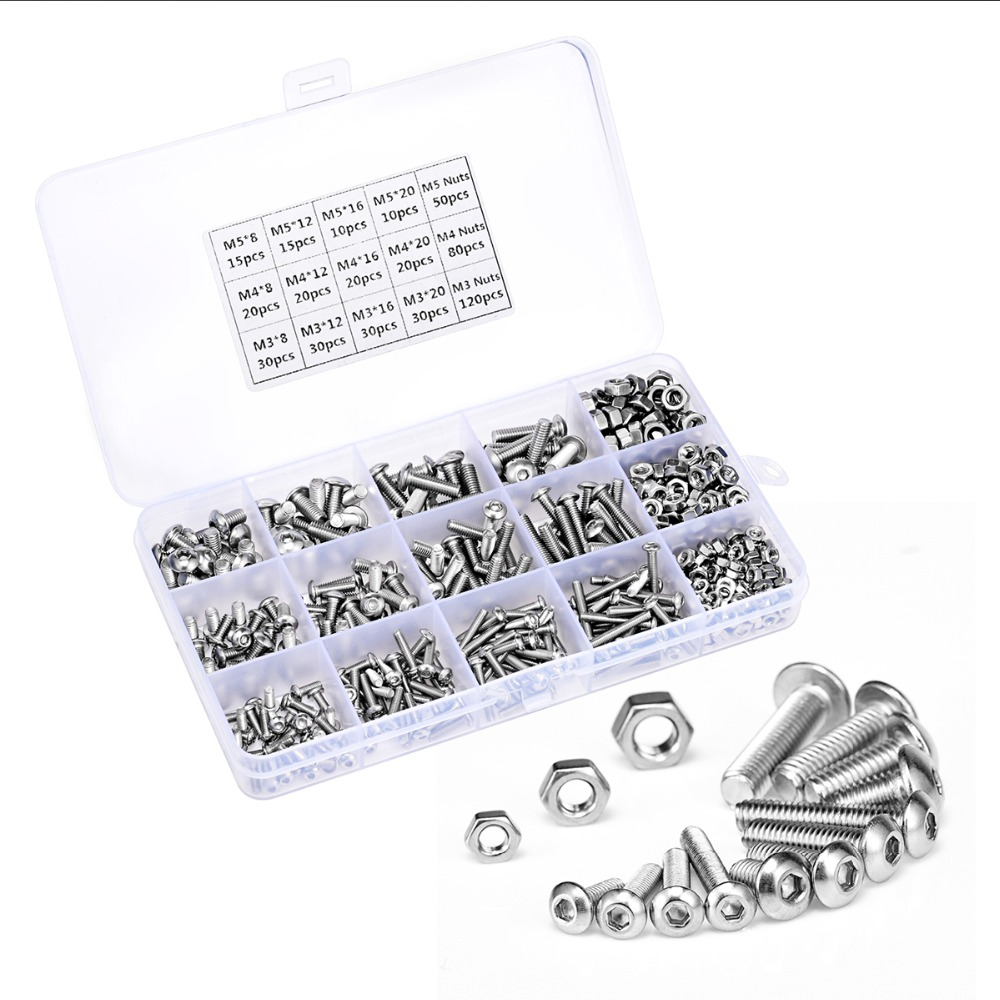 500pcs/set M3 M4 M5 Button Head Hex Socket Screw Bolt Nut Stainless Steel Screws Nuts Assortment Kit Fastener Hardware Kit 340pcs stainless steel m3 a2 hex screw kit assortment nuts bolt cap socket set 125x65x22mm with case