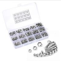 500pcs/set M3 M4 M5 Button Head Hex Socket Screw Bolt Nut Stainless Steel Screws Nuts Assortment Kit Fastener Hardware Kit