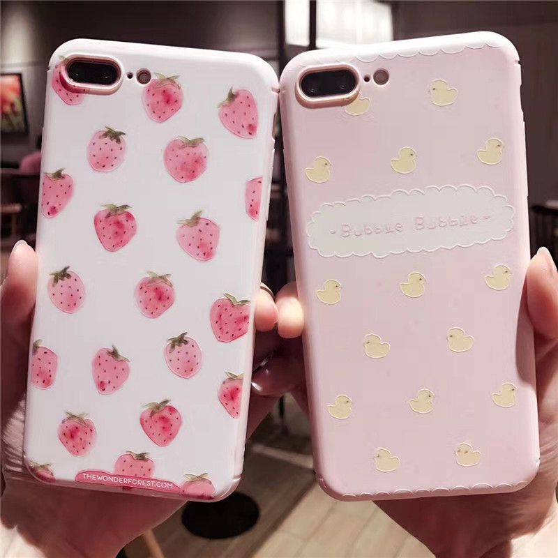 3D Relief Silicone Case for iphone 7 7Plus Strawberry bubble TPU Case For iphone 6 6s 6plus 6splus 8 8plus back cover