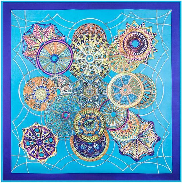 100% Sarga de Seda Cuadrado Grande 130*130 cm Marca de Lujo Del Mantón de La Bufanda Patrón de la Bóveda del Cielo Pashnima Impresión Digital Bufandas femeninas