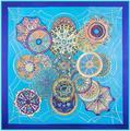 100% Twill Silk Large Square 130*130cm Luxury Brand Shawl Scarf Pashnima Sky's Dome Pattern Digital Print Female Scarves