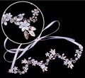 Elegant Luxury Pearls Flower Clear Rhinestones Gold Leaf Wedding Hair Vine Headband Bridal Headpiece