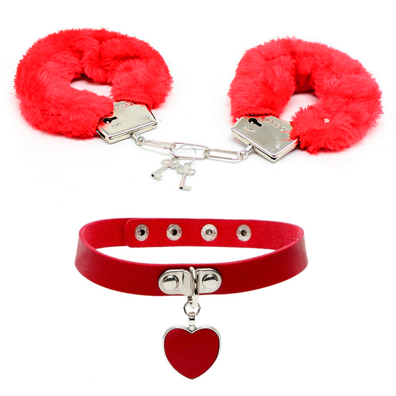 Sex Toys Furry Metal Handcuffs Adult SM Game Slave Neck Collar Fetish Bondage Restraint Erotic Accessories Role Play For Couple