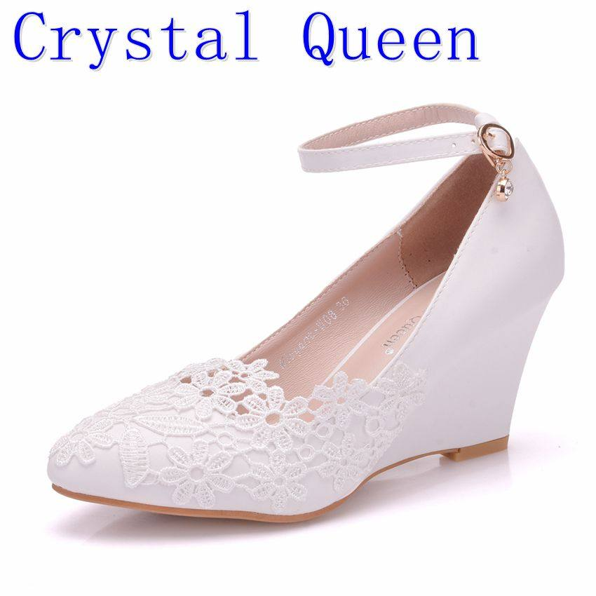 Crystal Queen Womens Wedding Shoes Bride Bridesmaid Dress Shoes 8cm Wedges  High HELLSs White Lace Shoes 978ae5b44ef0