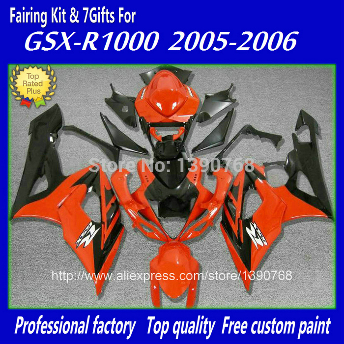 HOT! fairing kit for Injection mold SUZUKI 2005 2006 GSXR 1000 05 06 K5 K6 GSX-R1000 orange black customize fairings set BH24 free customize mold fairing kit for suzuki gsx 600f 750f 95 96 97 05 red black fairings set gsx600f 1995 1996 2005 lm41