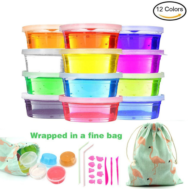 12 Colors Cyrstal Slime Kit Non-toxic Plasticine DIY Toys Baby Outdoor Educational Toys Fluffy Slime Making Kit for Adults Kids