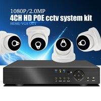 YiiSPO 4CH POE CCTV Системы комплект 1080 P IP Камера Крытый ИК ночного Vison Безопасности 2.0MP POE NVR комплект видеонаблюдения P2P XMeye приложение просмотра