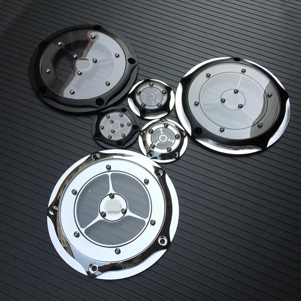 Motorfiets Rsd Derby Cover & Timing Timer Covers Cnc Aluminium 5 Gat Voor Harley Road King Softail Dyna Flhrs Fltfb chrome Black