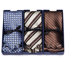 Luxury Packing Gift Box Solid Plaid Tie Silk Ties for Men 145cm long High Quality Mens Cravata 7.5cm Wide Male Neck