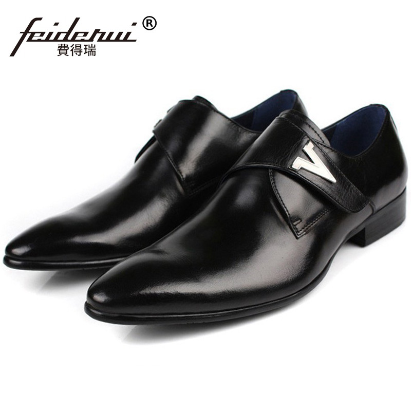 New Arrival Formal Dress Business Shoes Luxury Genuine Leather Oxfords Men's Pointed Toe British Designer Handmade Flats BD52 plus size 2016 new formal brand genuine leather high heels pointed toe oxfords punk rock men s wolf print flats shoes fpt314