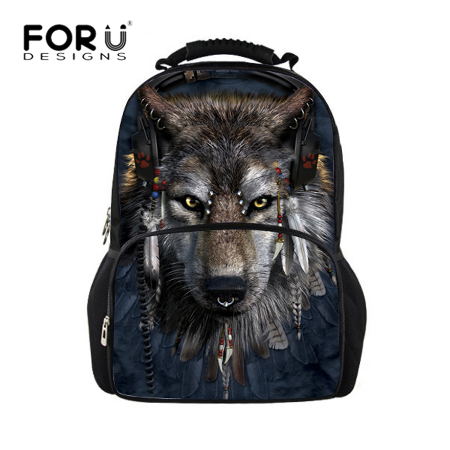 FORUDESIGNS Men backpack Big Multifunction, Wolf Shark Printing Backpacks Mens Bagpack Teen Boys School Back Pack Bag 2017 Hot