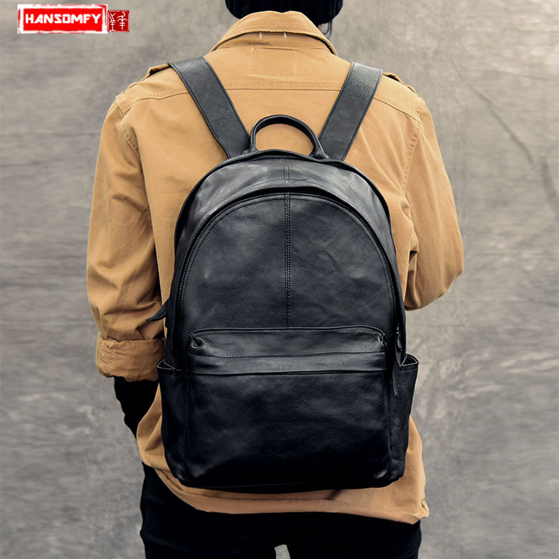 Men s Genuine leather backpack High grade leather retro large capacity travel backpack computer 14 inch